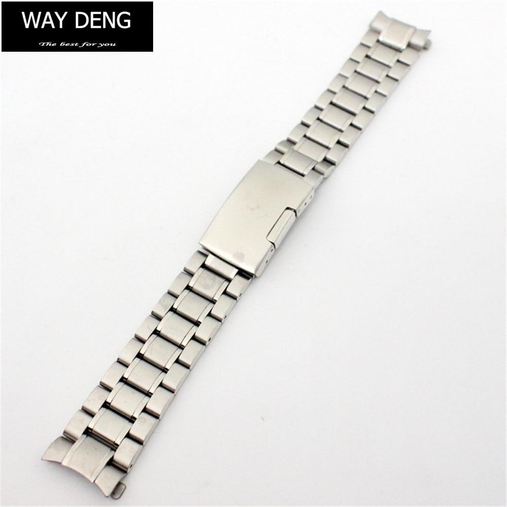 Way Deng - Women Men Silver Metal Stainless Steel Watchband 18/20/22 MM Watch Band Strap Bracelet Arc End Connector - Y068 все цены
