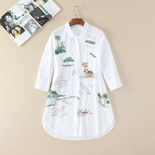 2017 Spring coconut tree embroidery blouse fashion woman's whie cotton shirt  sequins lapel Long shirts S-XL size