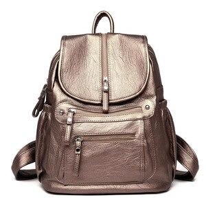 Image 4 - Women Backpack high quality Leather  Fashion school Backpacks Female Feminine Casual Large Capacity Vintage Shoulder Bags