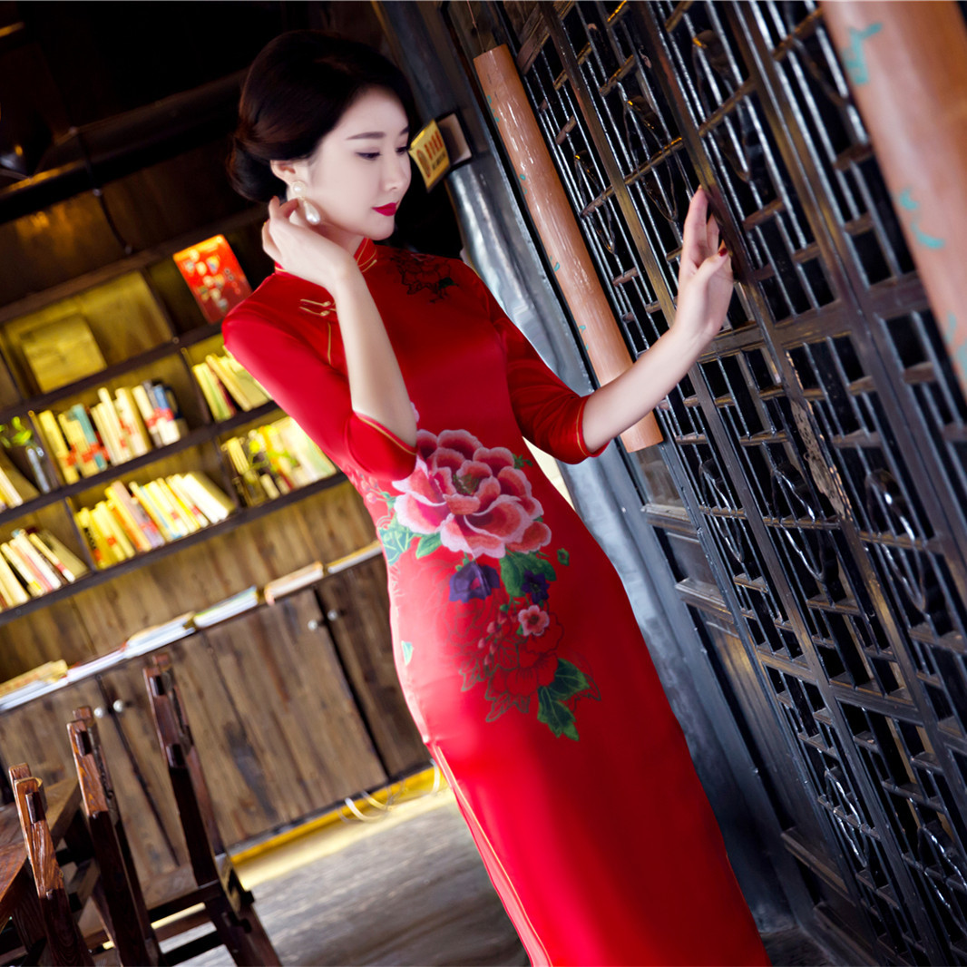 lady women qipao red cheongsam sleeve chinese traditional in red traditional dress for women silking sexy dress formal dresses
