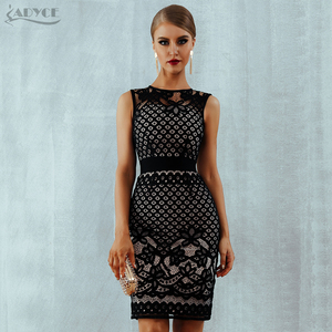 Image 2 - Adyce 2020 New Summer Lace Bandage Dress Women Elegant Black Hollow Out Sexy Bodycon Club Tank Celebrity Evening Party Dresses