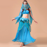 Sexy Belly Dance Costume For Women Top+Skirt+Belt+Headwear+Veil Bollywood/Indian Dance Costumes Dancewear Belly Dance Suit Lady