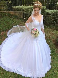 Wedding-Dresses Ball-Gown Appliques Long-Sleeve Illusion Casamento Vestido-De-Noiva Lace