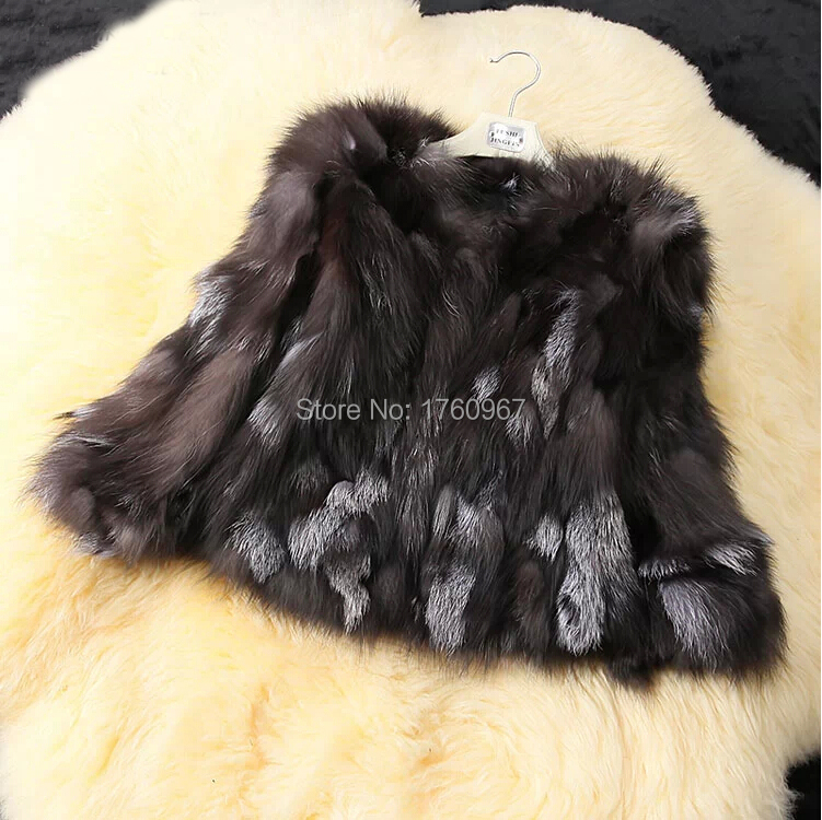 Free shipping Natural Genuine Real Silver Fox Fur Coat for Women Warm Winter DFP415 Fox Fur Jacket