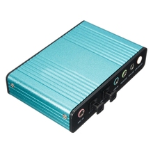 External Sound Card USB 6 Channel 5.1 Audio S / PDIF Optical Sound Card For PC Light blue цены