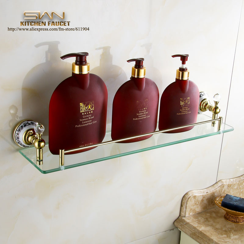 Luxury Wholesale Brass Bathroom Shelf Accessoires Make Up Glass shelives Gold Polor Plated
