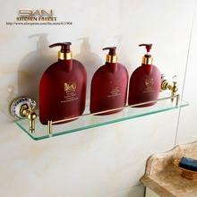 Роскошные оптовая продажа латунь ванной полкодержатель Accessoires составляют стеклянные shelives золото Polor покрытием