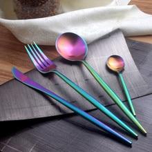 Dinnerware Steak Knife Stainless Steel Portugal Style Flatware Set Rainbow Color Rose Gold Tableware Set Soup Scoop Meat Fork