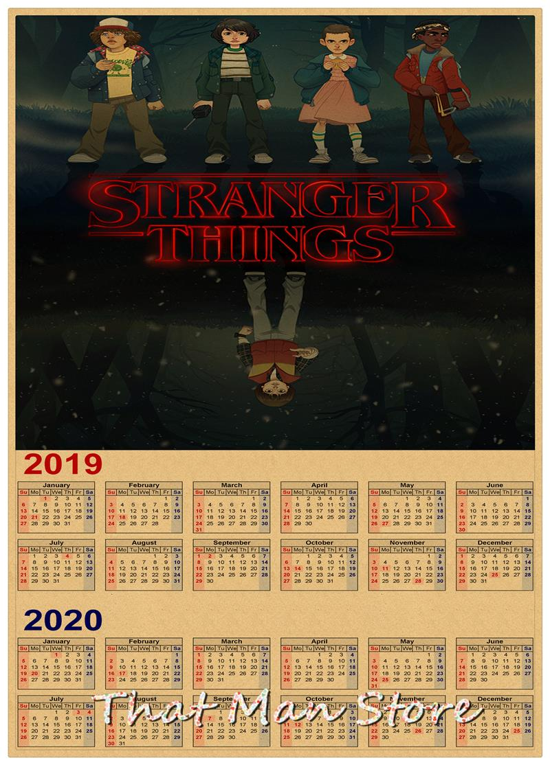Calendario Stranger Things.Us 1 79 8 Off Hot Sale Stranger Things 2019 2020 Calendar Poster Vintage Antique Posters Wall Sticker Home Decora 30 21cm In Wall Stickers From Home