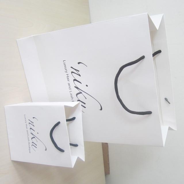 c19b1d260b5 200pcs lot 40 30 12cm Retail Custom Logo Paper Bag White Eco Brand Shopping  Bag For Advertisement 200g