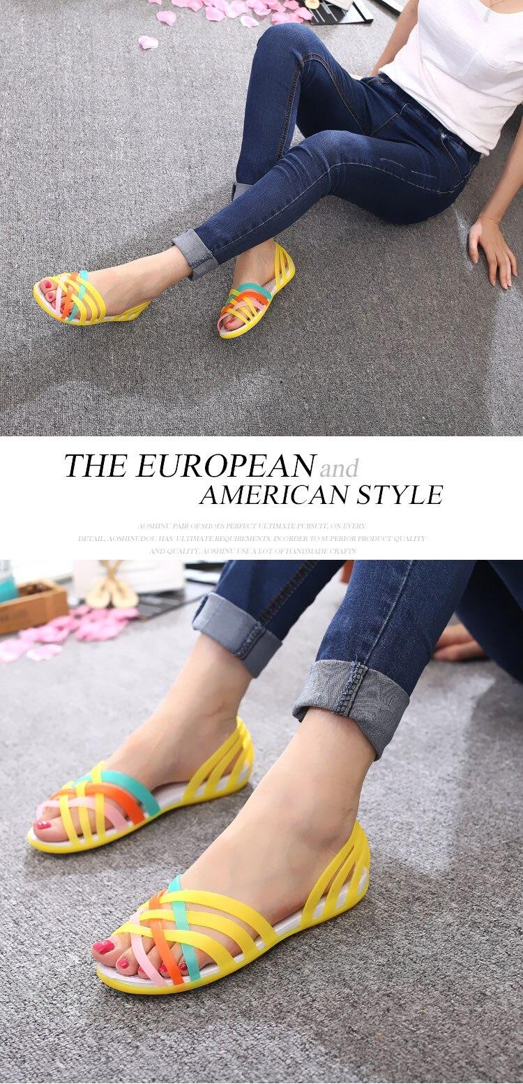 HTB1a13dX2jsK1Rjy1Xaq6zispXao New Summer Jelly Sandals Women Flat Sandals Peep Toe Beach Shoes Rianbow Ladies Slides Candy Rainbow Flats Sandalia Feminina