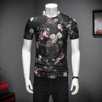2017 Summer T Shirt Men Fashion Print Slim Fit Mens T Shirts Short Sleeve O Neck