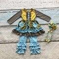 Meninas do bebê roupas crianças Outono/inverno pant ruffle outfits roupas floral azul yellowcotton Mostarda com colar combinando e arco