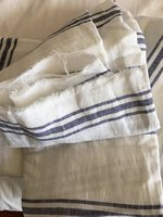 6 м Экстра Широкий 110 дюймов льняная ткань 100% чистый лен камень мыть полосой мягкое белье среднего веса синий и белый в полоску
