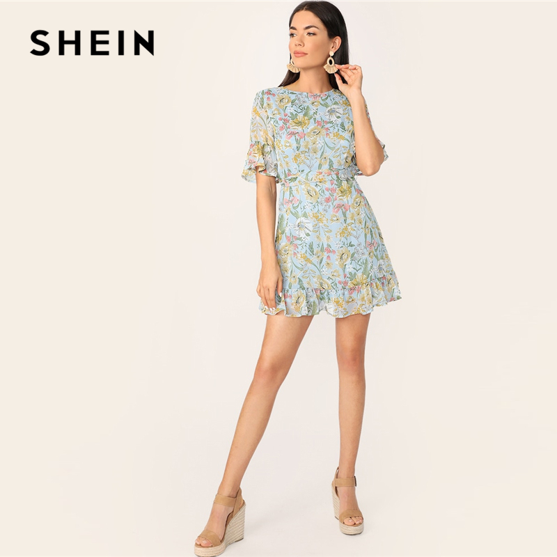 ab6990ddceae SHEIN Boho Blue Botanical Print Ruffle Sleeve Belted Dress Women ...
