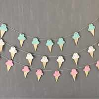 10pcs/lot INS Ice Cream Wood Pendant DIY Hanging Curtain Kids Room Decoration Wood Banner Birthday Party Wall Hanging Decoration
