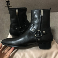 Real Picture High Quality Handmade High Top Classic Black Sewing Line Genuine Leather Wedge Men Boots