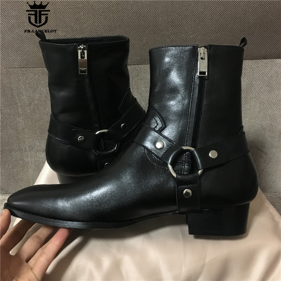 Real Picture High Quality Handmade High Top Classic Black Sewing Line Genuine Leather wedge Men Boots Street Rock Fashion Style