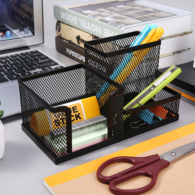 e65799c2462c US $11.99 25% OFF|Sturdy Mesh Reading Desk Organizer Metal Storage Box  Metal Pen Holder Office Home Supplies Holding Stationery Accessories 1PC-in  Pen ...