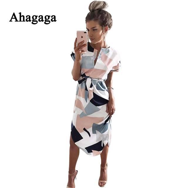 Ahagaga 2018 летнее платье Для женщин модный принт Элегантный Симпатичные Пояса круглым вырезом Sexy Тонкий Оболочка платье Для женщин Платья для женщин Vestidos Халаты