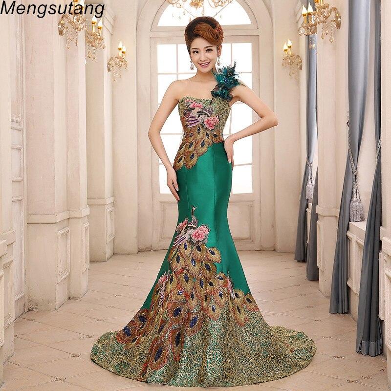 Robe de soiree High quality Mermaid one shoulder lace up Elegant   evening     dress   long vestido de festa prom   dresses   party   dresses