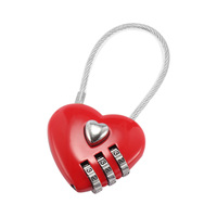 Heart Password Lock Wire Rope Resettable Combination Three Bit Digital Lock Padlock Travel Bags [category]