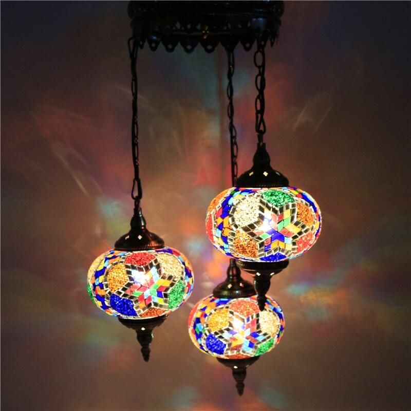 Индейка этнические таможни ручной работы мозаичная лампа Романтический отель Кафе Ресторан Бар подвесной светильник гостиная балкон лест