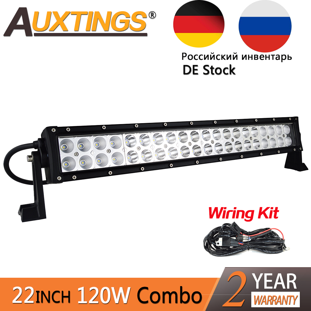 Auxtings 22'' 120W Straight Double Rows 6500K Combo Beam LED Bar Work LED Light Bar Offroad 4x4 Offroad Car For Auto JEEP Truck free dhl ups fedex ship 25 120w 9600lm 10 30v 6500k led working bar led offroad bar option wire harness suv led bar light