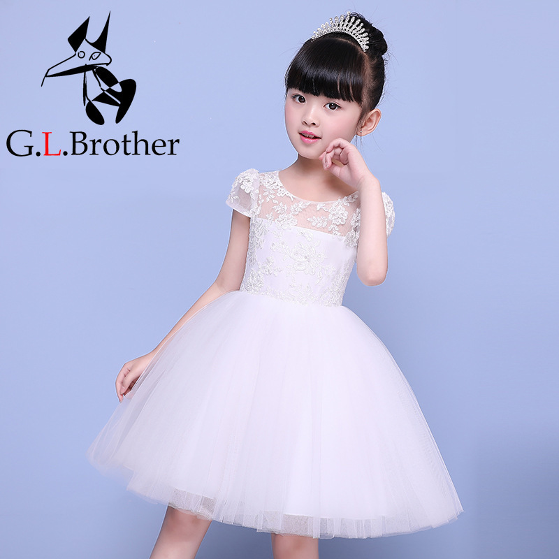 Hot Flower Girl Dress Ball Gown Short Sleeve Kids Pageant Dress Wedding Appliques Girls Party Dress Birthday Princess Dresses