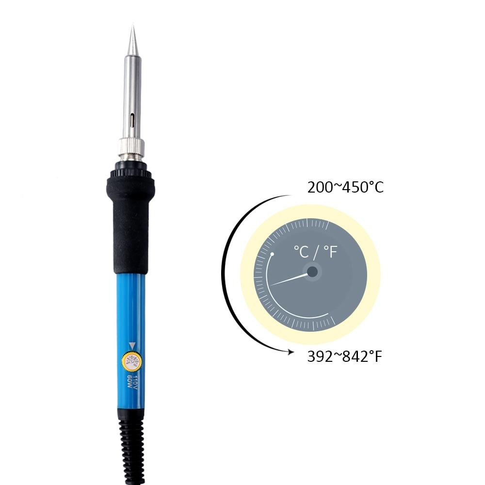 60W Electric Adjustable Temperature Welding Soldering Iron Welding Solder Station Heat Pencil + 5 Replacement Soldering Tips Set