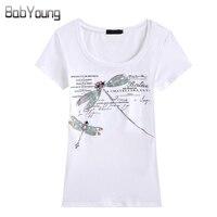 New Women S T Shirt Fashion Slim European And American Style Handmade Dragonfly T Shirt Female