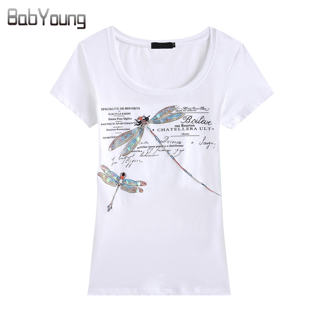 BabYoung Літні Топи Жіноча Футболка Мода Стиль Ручної роботи Шаблон Dragonfly Femme Трійники Майка Жіноча Camisetas Mujer 4XL