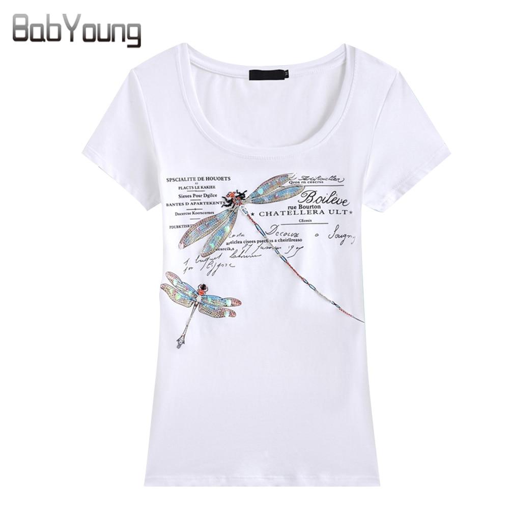 Babyoung الصيف قمم المرأة القميص أزياء نمط اليدوية اليعسوب نمط فام تيز تي شيرت الإناث camisetas موهير 4xl