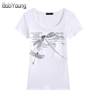 BabYoung Summer Tops Women'S T-Shirt Fashion Style Handmade Dragonfly Pattern Femme Tees T Shirt Female Camisetas Mujer 4XL