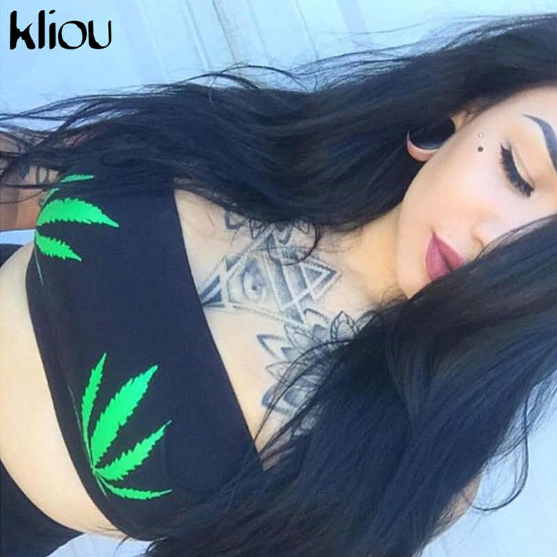 Kliou 2018 New Leaf Print Three Colors Women Tube Top Female Summer Fitness Body Strapless Camisole Short Cropped Tank Tops