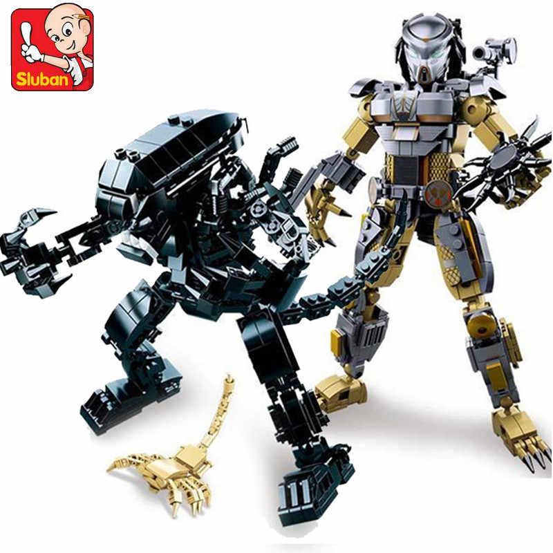 """Чужой против Хищника робот фильм военные фигурки Совместимость строительных блоков в форме миньона Джорджа из мультфильма """"Звездные войны кубики для творчества, игрушки для детей"""