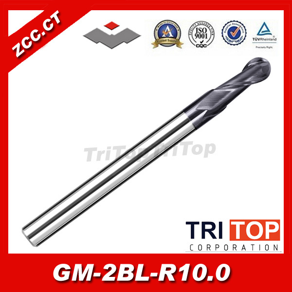 tungsten carbide end mill ZCC.CT GM-2BL-R10.0 2 flute ball nose end mills with straight shank original solid carbide milling cutter 68hrc zcc ct hm hmx 2b r10 0 2 flute ball nose end mills with straight shank