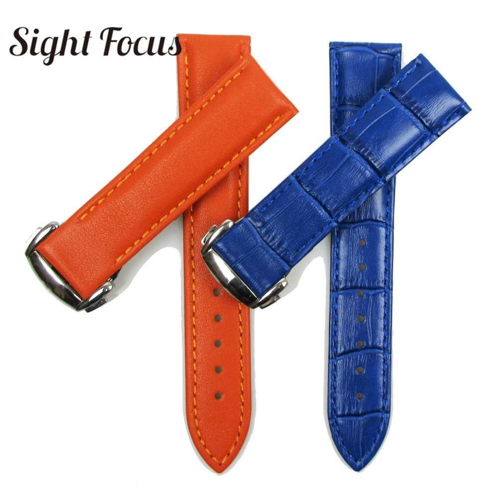 Оранжевый синий телячья кожа ремешок для часов Omega Seamaster 19 мм 20 мм кожаный ремешок для женщин и мужчин Ремешки для наручных часов браслет Montre Reloj