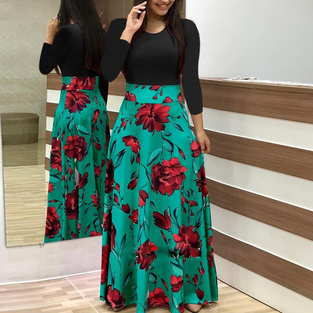 Womens Halter Sleeveless Maxi Dress Elegant Ladies Floral Print Belt Chiffon Long Dress Slim Draped Dresses