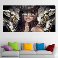 HD Steampunk Angels With Glasses Canvas Painting Sexy Girl Wall Art Posters And Prints Wall Pictures For Living Room Decor