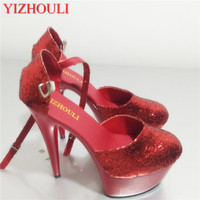 لامعة الأحمر الترتر 15 سنتيمتر مثير سوبر عالية الكعب منصات القطب الرقص/الأداء/نجم/النموذجي ، أحذية الزفاف