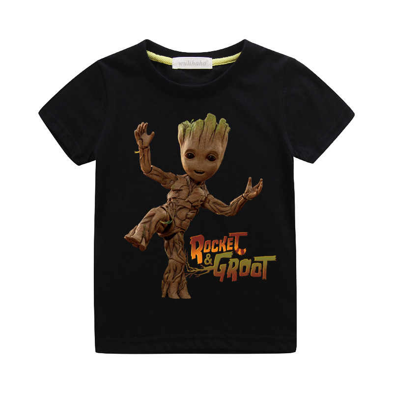 Boys Cartoon Baby Groot Print T-shirts Girls Casual 3D Funny Tshirts Children Summer Short Sleeve Clothing Kids Tee Tops ZA069