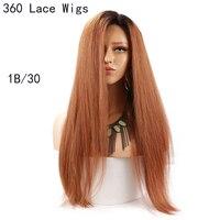 Eseewigs прямые коричневые Ombre 360 Кружева Лобные Парики Для женщин 1B 30 темные корни 2 тон Цветной натуральные волосы парики предварительно сорва