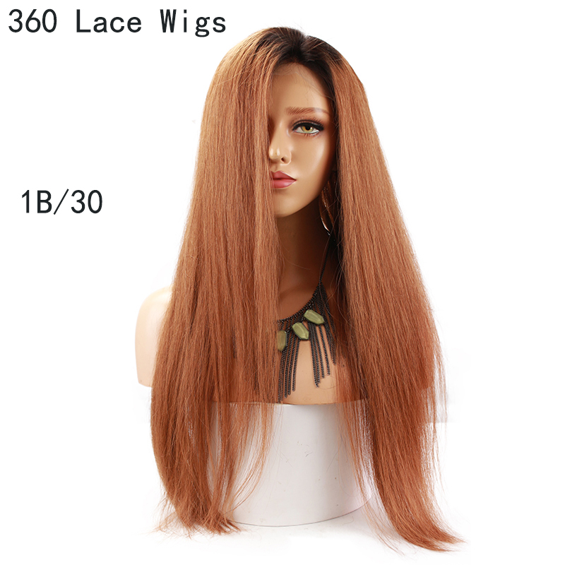 Eseewigs Straight Brown Ombre 360 Lace Frontal Wigs For Women 1B 30 Dark Roots 2 Tone Colored Human Hair Wigs Pre Plucked Remy