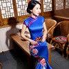New Spring Blue Sexy Traditional Chinese Female Dress Handmade Button Flower Long Qipao Slim Mandarin Collar