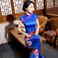 New Spring Blue Sexy Traditional Chinese Female Dress Handmade Button Flower Long Qipao Slim Mandarin Collar