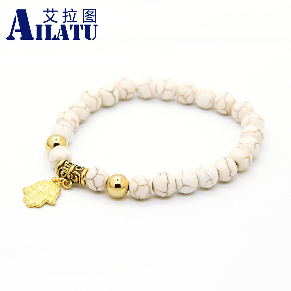 Ailatu Fashion Plated Alloy Fatima Hand Hamsa Charm Bracelets with 8mm Created White Stone Bead Muslim Jewelery