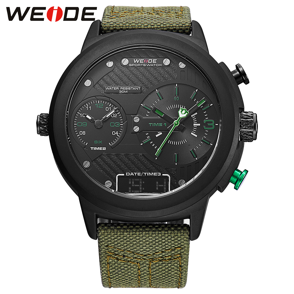 2017 New Weide Watches Men Luxury Brand Nylon Strap Quartz Clock Led Digital Military Watch Sport Wristwatch Relogio Masculino watch men led digital waterproof wristwatch casual man sport watches 2017 new weide famous brand saat erkekler horloges mannen