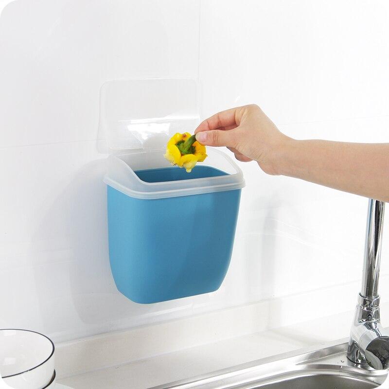 Nouveau mur-monté nail-livraison poubelle avec couvercle en plastique boîte de stockage des débris poubelle bin organisateur cuisine toilette fournitures