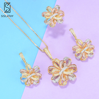 SISCATHY Charm Flower Lariat Necklace/Earrings/Ring AAA Cubic Zircon Jewelry Sets for Women Wedding India Bridal Jewelry